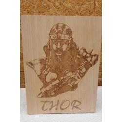 Plaque pyrogravée Thor